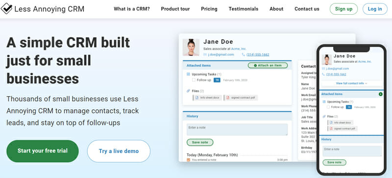 Less Annoying CRM is a simple CRM Software for Small Businesses, Startups and Teams