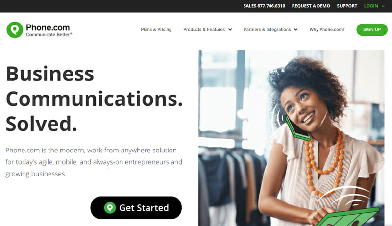 Phone.com is the best business phone service for small businesses operating remotely or from scattered locations