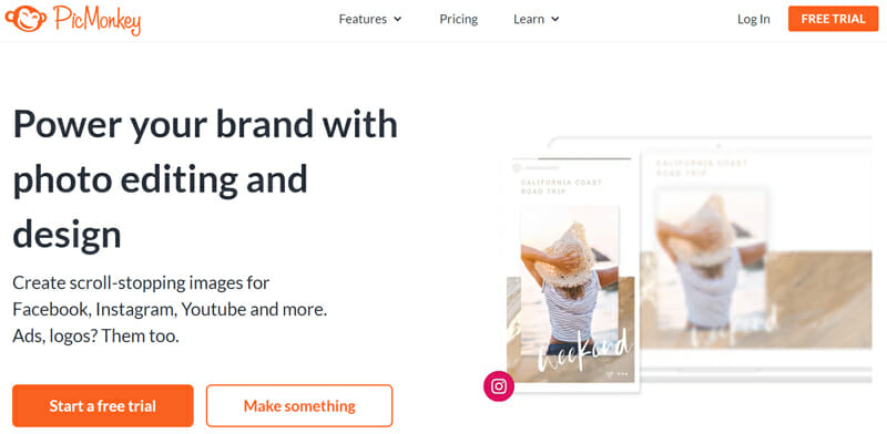 PicMonkey is the best Image editor for social media Images and designs