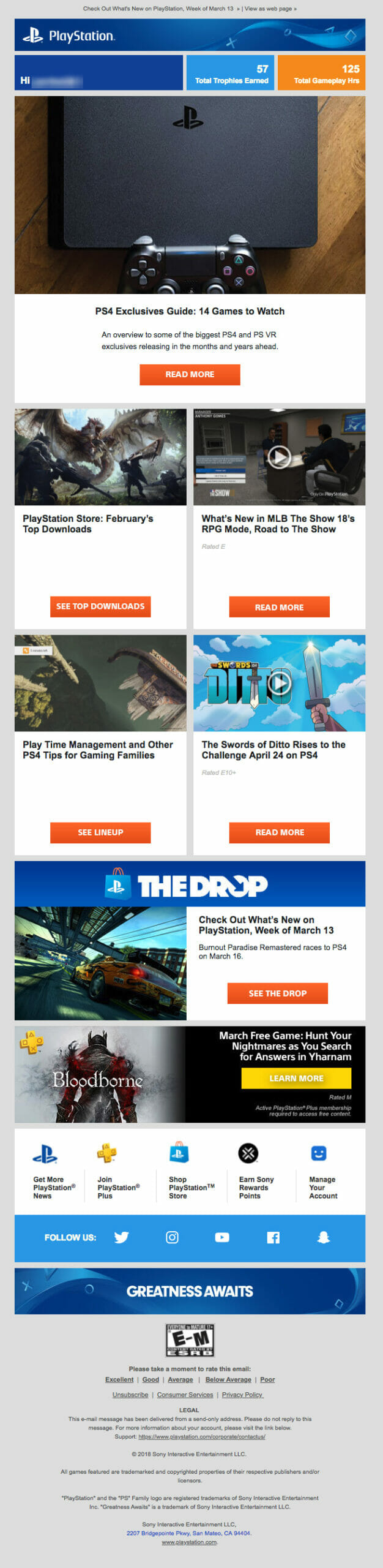PlayStation is a Newsletter Example For Digital Video Game Stores