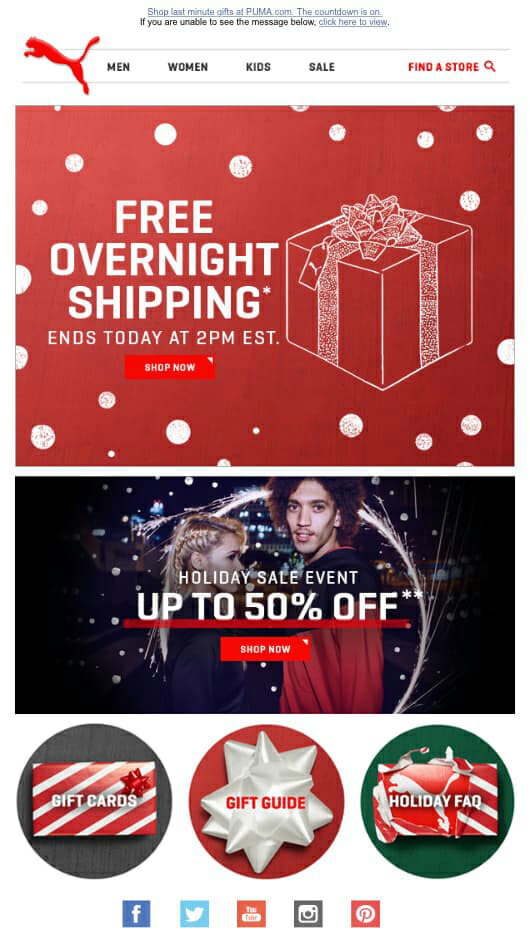 Puma Holiday Newsletter Example For Apparel Shops and Christmas