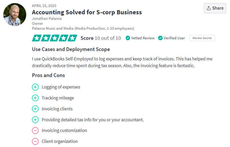 QuickBooks Self Employed Customer Review