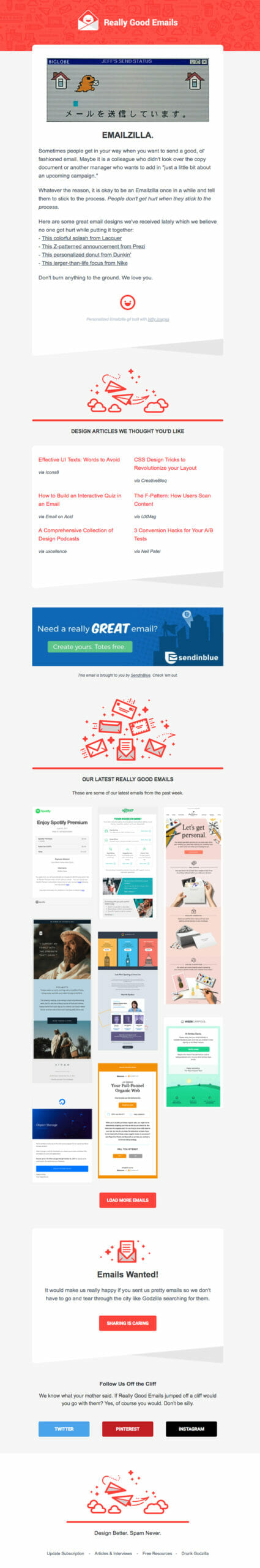Really Good Emails is a Newsletter Example For Email Design Blogs