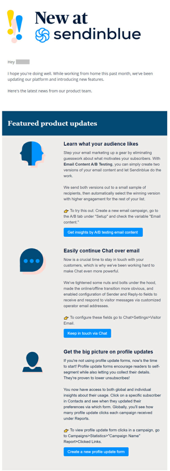 Sendinblue is an Update Newsletter Example For Email Marketing Services