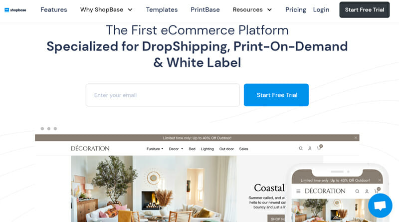 ShopBase is a Flawless eCommerce platform for dropshipping