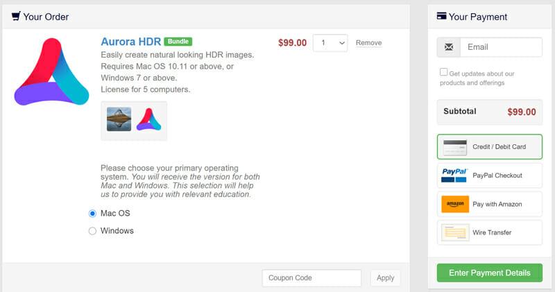 Skylum Aurora HDR Pricing Plan