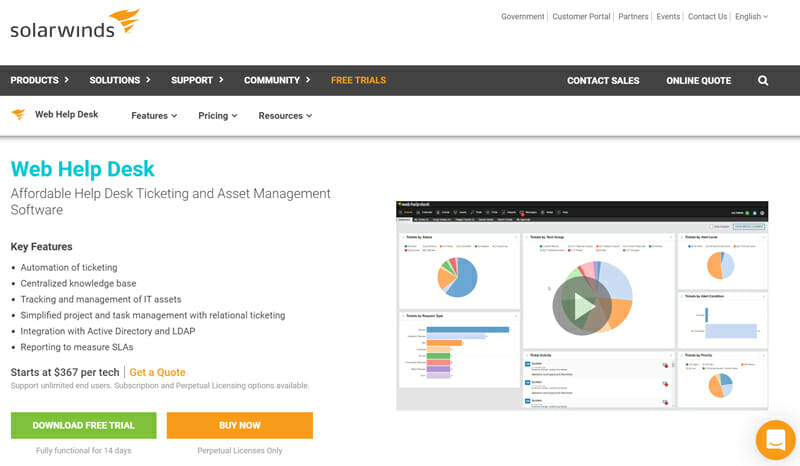 SolarWinds Web Help Desk is the best for SLA Management and ITSM for Tech Businesses