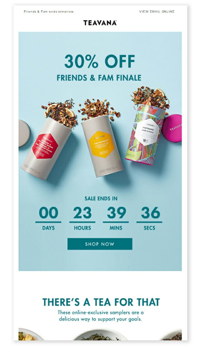 Teavana is an Email Discount Newsletter Example For Tea Brands