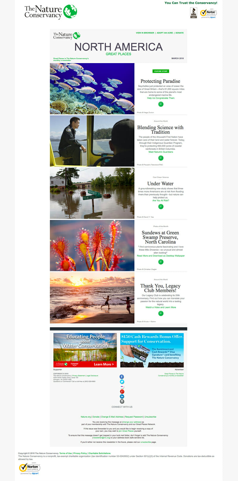 The Nature Conservancy is an Email Newsletter Example For Organisations Protecting The Environment