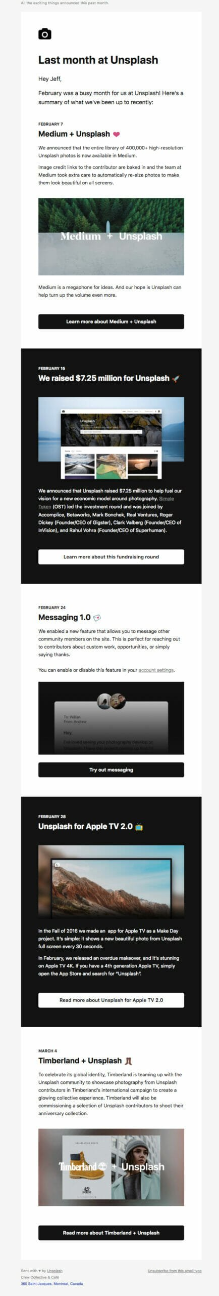 Unsplash is an Update Email Newsletter Format Example For Photographic Blogs