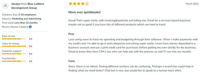 Wave Accounting Customer Review