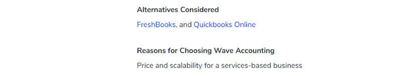 Wave Accounting Customer Review alternative considered