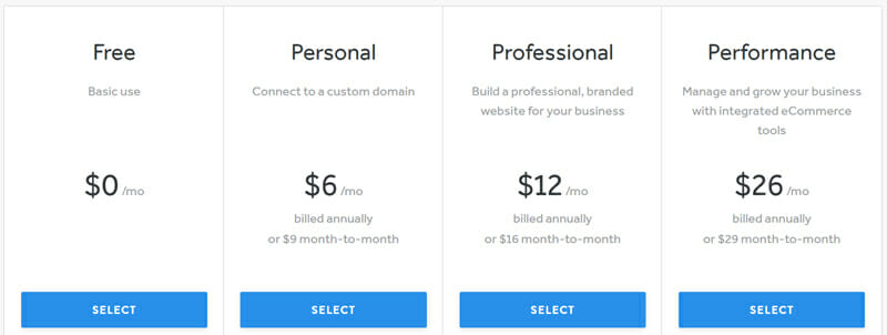 Weebly's Pricing Plan