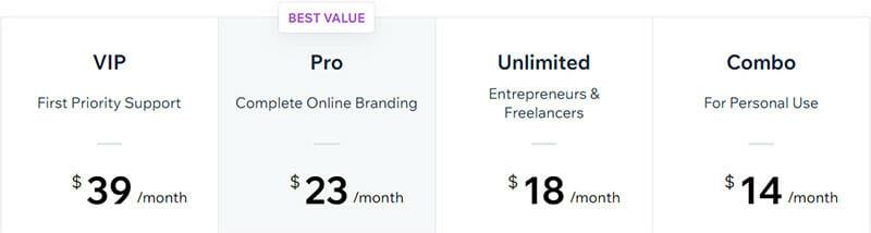 Wix Pricing Plan