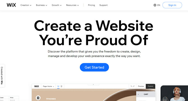 Wix is a Versatile eCommerce website with efficient building tools