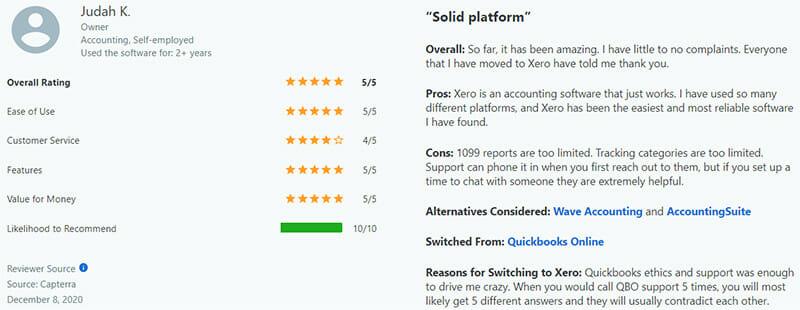 Xero Customer Review