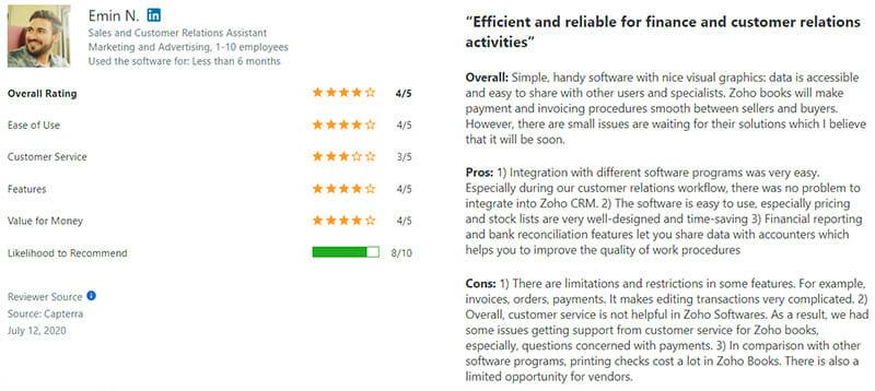 Zoho Books Customer Review