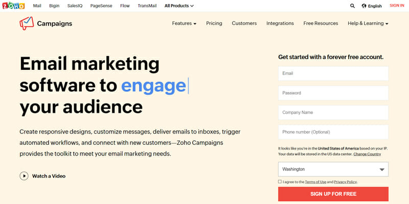 Zoho Campaigns is the best free email marketing software with a very vast range of integrations for all business functions