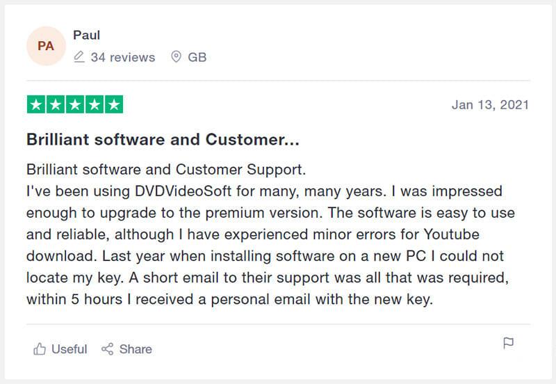 DVDVideoSoft Customer Review
