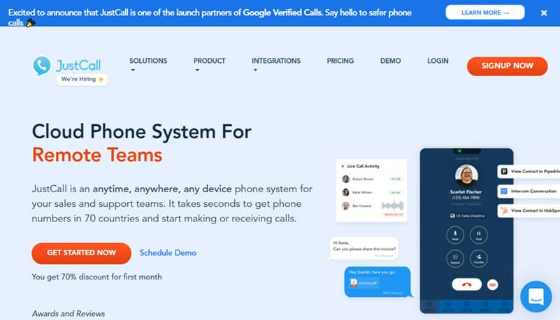 JustCall is the Best All Round Dial up Cloud Phone System for Phone Support