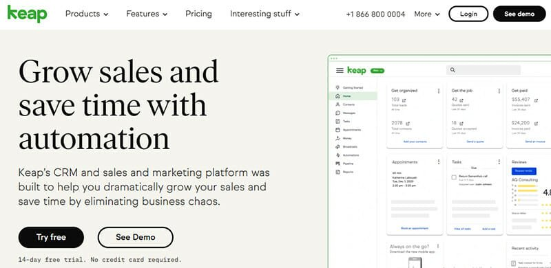 Keap is a Marketing Automation System with CRM Automation