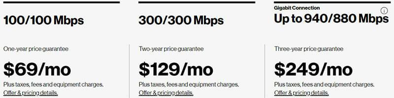 Verizon Internet Pricing Plan