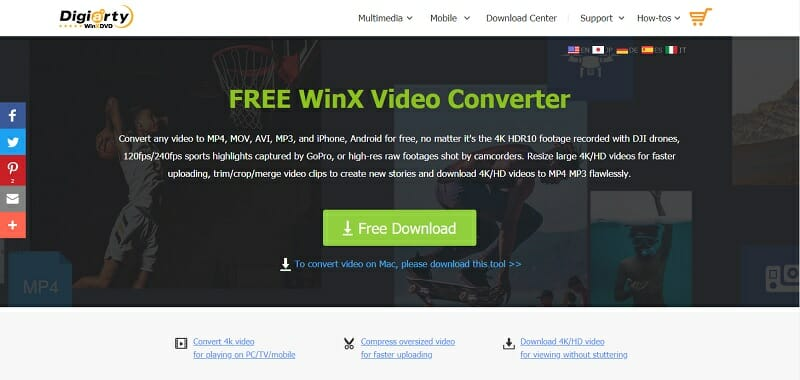 WinX Video Converter homepage