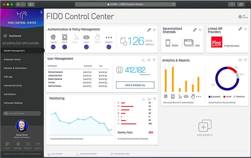 HYPR control center dashboard