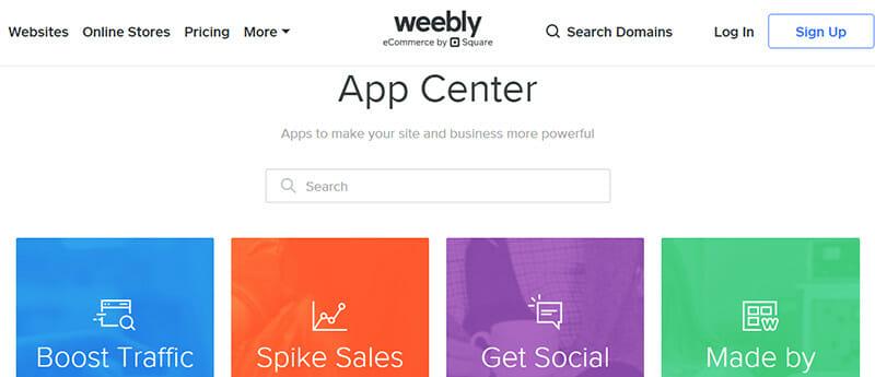 Weebly's massive app center
