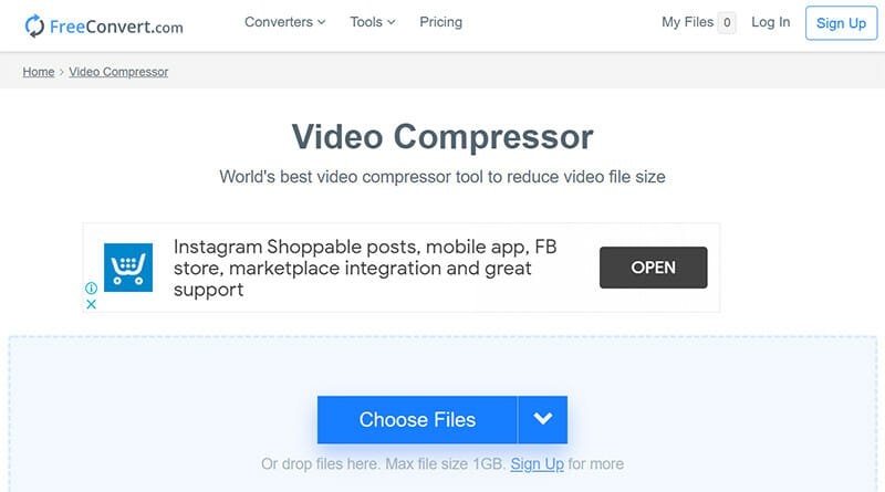 FreeConvert is a Simple Online Video Compressor Tool