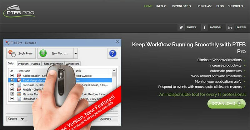 PTFB Pro is the Best Auto Clicker for Increased Workflow Efficiency and Productivity