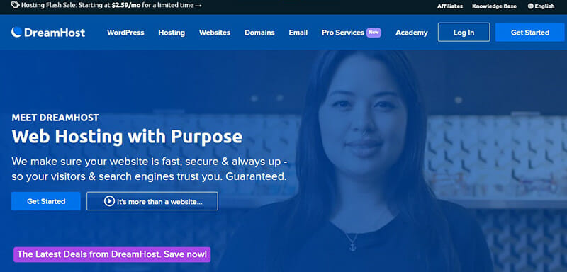 DreamHost is the Best website hosting service for a hundred percent uptime