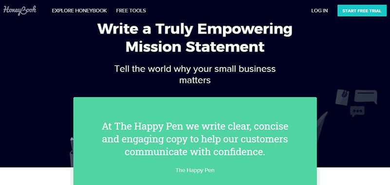 HoneyBook is an Overall Best Mission Statement Generators with Editing Options