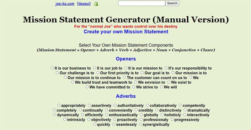 Joe-Ks is the Best Mission Statement Generator for Manually Generating Mission Statements