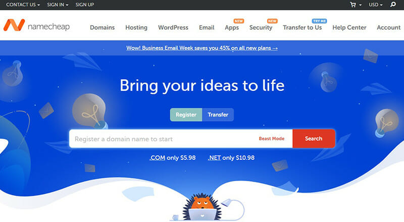 NameCheap is the Best domain hosting service with the most affordable domain options