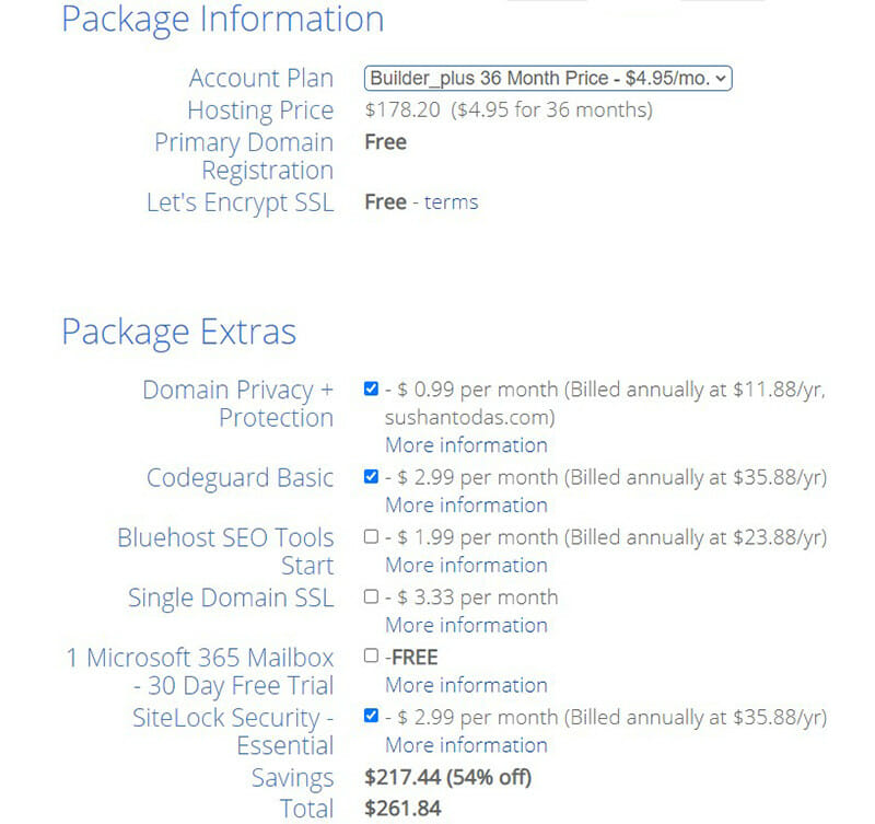 Confirm the package information