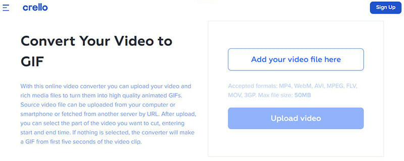 Crello is the Best Video to GIF Converter with a 50MB File Size Limit