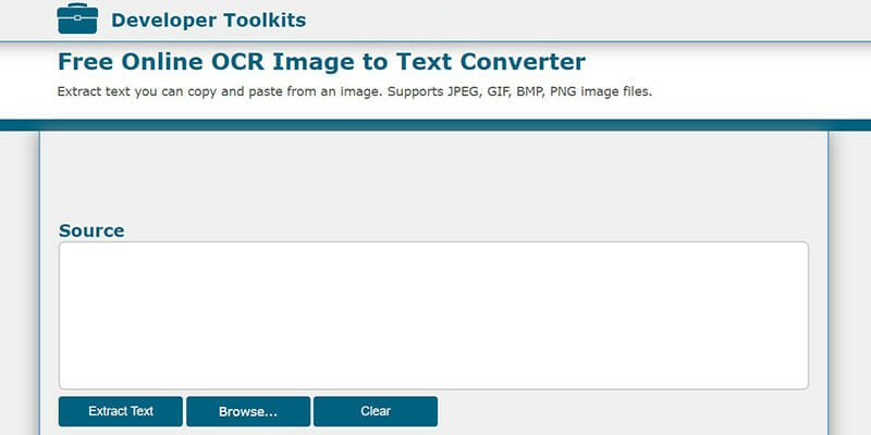 Developer Toolkits is a Simple Image to Text Converter Tool