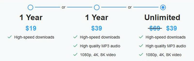 Free YouTube Download Pricing Plan