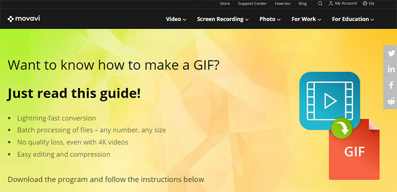 Movavi is the Best Video to GIF Converter with Very Fast Conversion Speeds