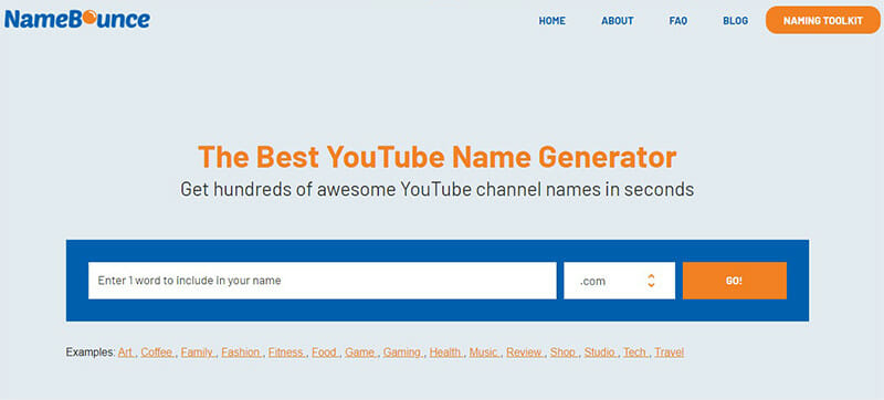 NameBounce is the Best Free YouTube Channel Name Generator with Quality Suggestions