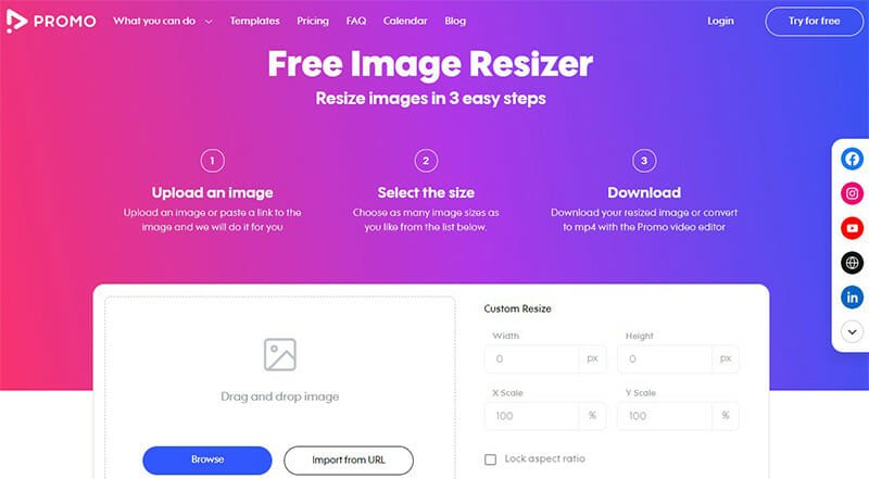 Promo is the Best Image Resizer and Optimizer Tool with Longest List of Dedicated Image Sizes