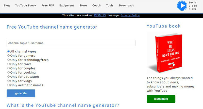 Social Video Plaza is the Best Free YouTube Channel Name Generator with Additional Useful YouTube Related Tools