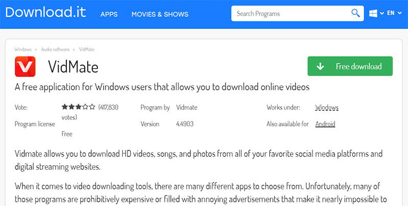 Vidmate is the Best for free downloads and useful features