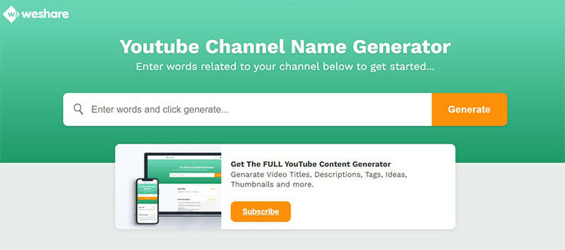 Weshare is the Best Free YouTube Channel Name Generator with Lots of Pre Suggested Names