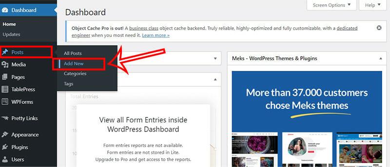 WordPress dashboard Add New Post