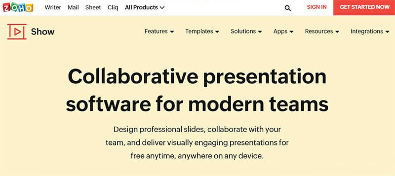 Zoho Show is a Collaborative Presentation Software for Modern Teams
